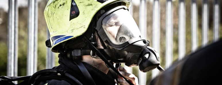Firefighter wearing helmet