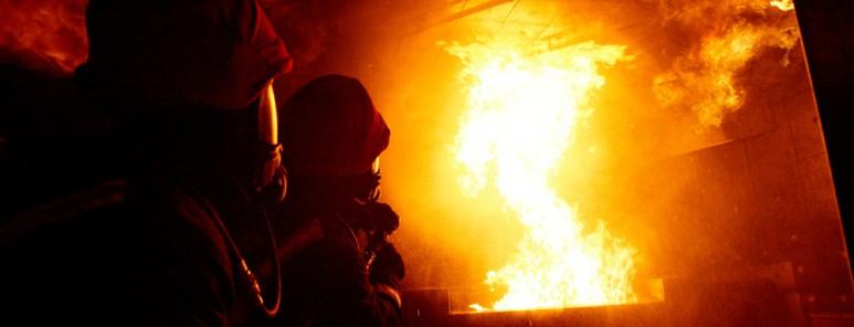 Firefighters training in Sheffield