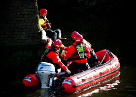 Firefighters carry out water rescue training