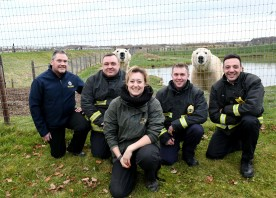 Photo courtesy Yorkshire Wildlife Park South Yorkshire Fireservice, Rossington crew members Shayne Tottie, David Graham and Dan Parker along with Alun Charnock of Stores, Rotherham present Yorkshire Wildlife Park with surplus hoses, ropes and items to be used as animal enrichment.